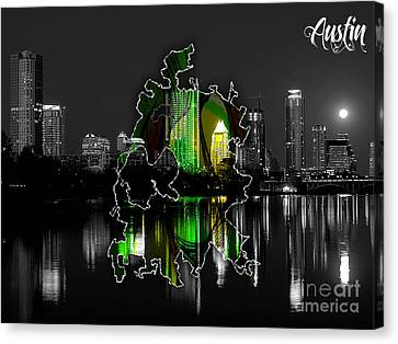 Austin Texas Map And Skyline Watercolor Canvas Print by Marvin Blaine