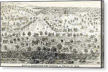 Austin Texas New Capital 1844 Canvas Print by Daniel Hagerman