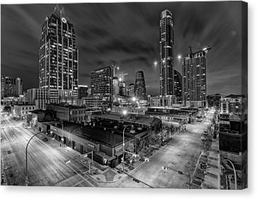 Austin Texas Skyline Get Out The Crane Construction Time Again Canvas Print by Silvio Ligutti