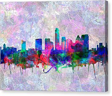 Austin Skyline Canvas Print - Austin Texas Skyline Watercolor 2 by Bekim Art