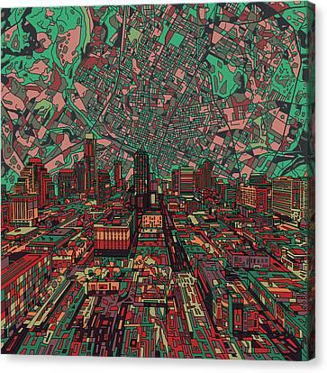 Austin Skyline Canvas Print - Austin Texas Vintage Panorama 3 by Bekim Art