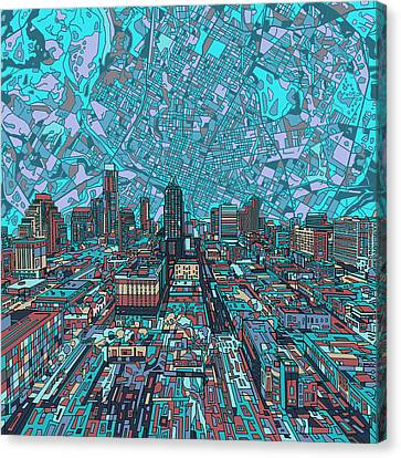 Abstract Digital Canvas Print - Austin Texas Vintage Panorama 4 by Bekim Art