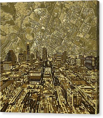 Abstract Digital Canvas Print - Austin Texas Vintage Panorama by Bekim Art