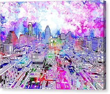 Austin Skyline Canvas Print - Austin Texas Watercolor Panorama by Bekim Art