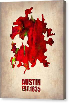 World Map Canvas Print - Austin Watercolor Map by Naxart Studio