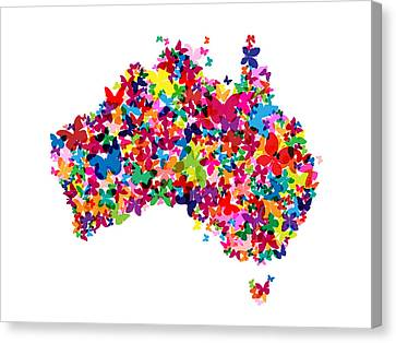 Australia Butterfly Map Canvas Print by Michael Tompsett