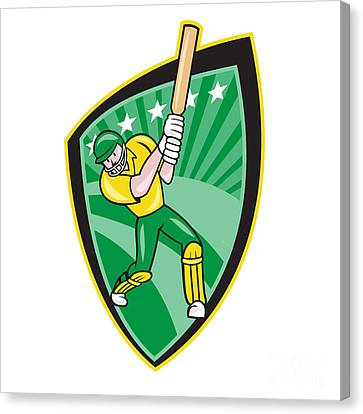 Australia Cricket Player Batsman Batting Shield Canvas Print by Aloysius Patrimonio