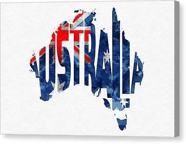 Australia Typographic World Map Canvas Print by Ayse Deniz