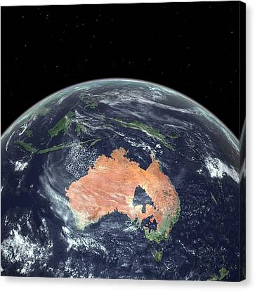 Flooding Canvas Print - Australia With Sea Level Rise by Walter Myers