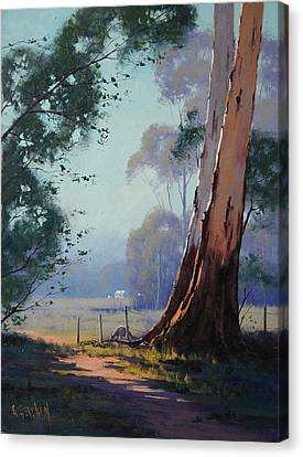 Australian Farm Painting Canvas Print by Graham Gercken