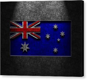 Canvas Print featuring the digital art Australian Flag Stone Texture by Brian Carson