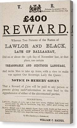 Australian Reward Poster, 1854 Canvas Print by Australian School