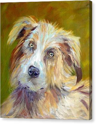 Canvas Print featuring the painting Australian Shepherd by Carol Berning