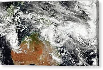 Australian Tropical Cyclones Canvas Print by Jesse Allen/suomi Npp/nasa