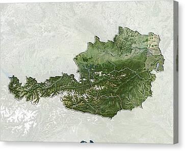 Austria, Satellite Image Canvas Print