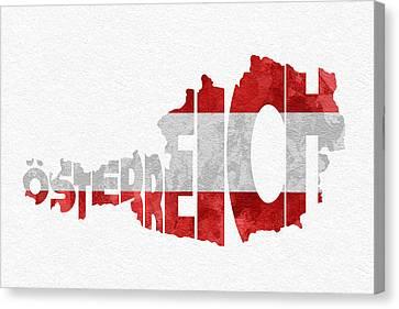 Austria Typographic Map Flag Canvas Print by Ayse Deniz