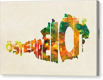 Austria Typographic Watercolor Map Canvas Print