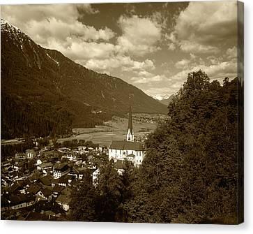 Austria, Tyrol, Oetz, View Of Town Canvas Print by Walter Bibikow