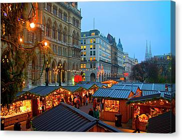 Austria, Vienna, Christmas Market Canvas Print by Miva Stock