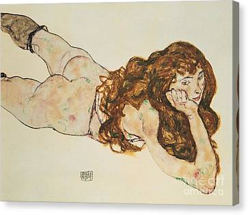 Austria Vienna Female Nude Lying On Her Stomach Canvas Print by Egon Schiele