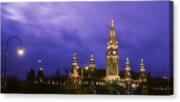 Austria, Vienna, Rathaus, Night Canvas Print by Panoramic Images