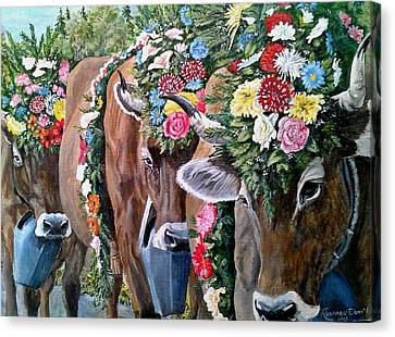 Austrian Cattle Drive Canvas Print