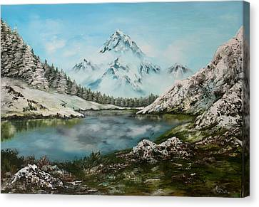Canvas Print featuring the painting Austrian Lake by Jean Walker
