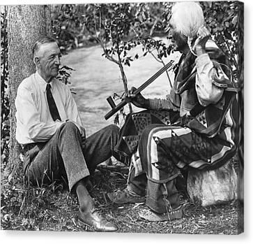 Author James Willard Schultz Canvas Print by Underwood Archives