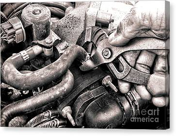 Auto Repair Canvas Print by Olivier Le Queinec
