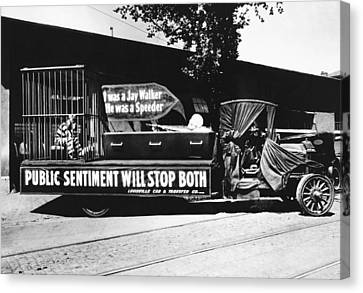 1916 Canvas Print - Auto Safety Parade by Underwood Archives