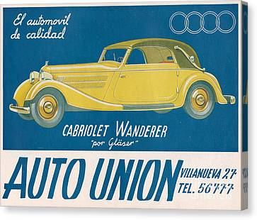 Auto Union Audi 1930s Usa Cc Cars Canvas Print by The Advertising Archives