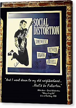 Autographed Poster Of Rock Legend Mike Ness  Canvas Print