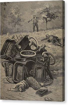 Car Canvas Print - Automobile Accident, Illustration by French School