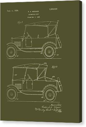 Old Car Canvas Print - Automobile Body Patent 1924 by Mountain Dreams