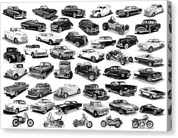 Automotive Pen And Ink Poster Canvas Print by Jack Pumphrey