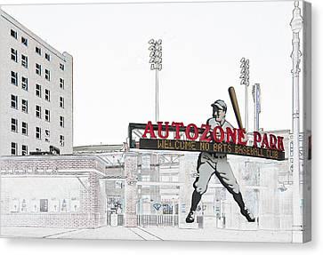Autozone Park Memphis Canvas Print by Liz Leyden