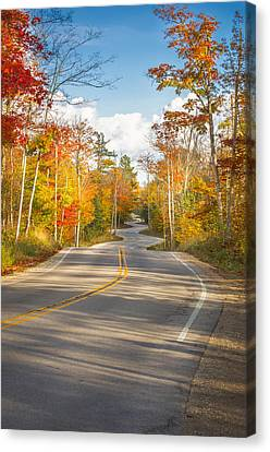 Autumn Afternoon On The Winding Road Canvas Print