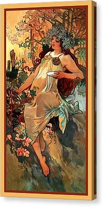 Autumn Canvas Print by Alphonse Maria Mucha