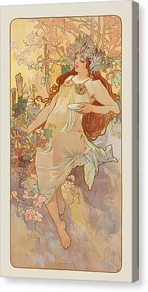 Mucha Canvas Print - Autumn by Alphonse Mucha