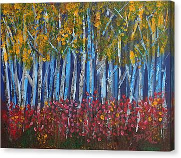 Autumn Aspens Canvas Print by Donna Blackhall