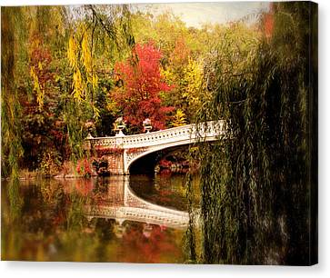 Autumn At Bow Bridge Canvas Print by Jessica Jenney