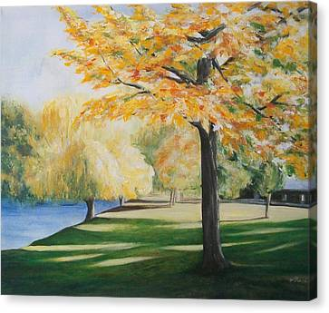 Canvas Print featuring the painting Autumn At Lake Explanade by Jane  See