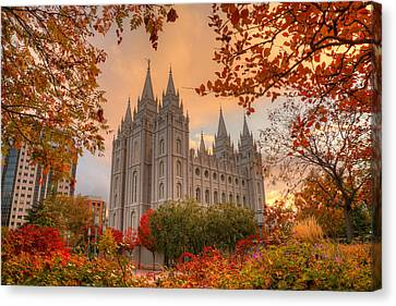 Canvas Print featuring the photograph Autumn At Temple Square by Dustin  LeFevre