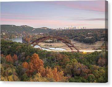 Autumn At The 360 Bridge In Austin Texas Canvas Print by Rob Greebon