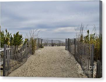 Autumn At The Beach Canvas Print by Judy Wolinsky