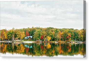 Autumn At The Lake - Pocono Mountains Canvas Print by Vivienne Gucwa