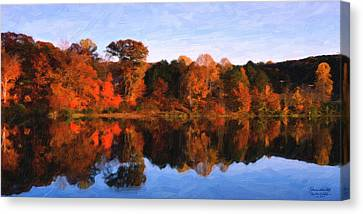 Autumn At The Lake Canvas Print by Spyder Webb