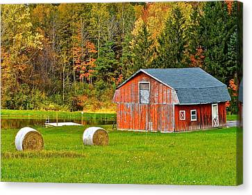 Autumn Barn And Bales Of Hay Canvas Print by Frozen in Time Fine Art Photography