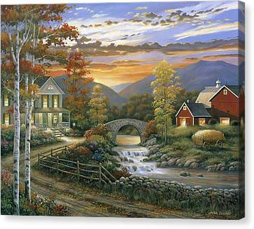 Autumn Barn Canvas Print by John Zaccheo