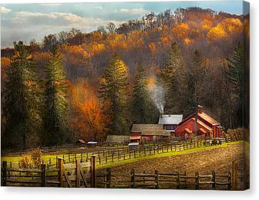 Mike Canvas Print - Autumn - Barn - The End Of A Season by Mike Savad